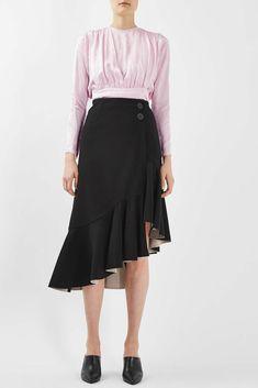 a72abc2d39 Topshop BOUTIQUE Crepe Ruffle Asymmetric Hem Wrap Skirt Black Nude UK 6 8  10 NWT #