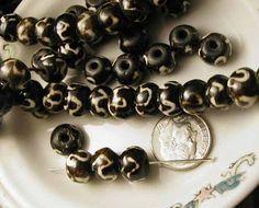 Batik Beads - Black and White Bone - 12 pieces - byRobertaBobbi
