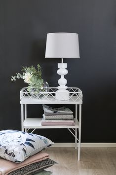 White Katariina lampstand is 41 cm tall and perfect with Pentik's Deco lampshade. This lampstand is suitable for a W energy-saving lamp or max. 60 W light bulb. The length of the wire is 180 cm. Decor, Interior Design, Furniture, Home, Interior, Spring Home, Lamp Shade, Home Decor, Energy Saving Lamp