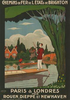 chemins de fer de l'état & de brighton - Paris à Londres -  Rouen, Dieppe et Newhaven - illustration de Jean-Jacques Roussau - France -