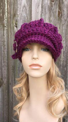 Chunky Crochet Hat, Crochet Newsboy Hat, Knit Or Crochet, Knitted Hats, Crochet Girls Dress Pattern, Knit Headband Pattern, Knitted Headband, Crochet Hats For Girls, Chapeaux Bonnet Slouchy
