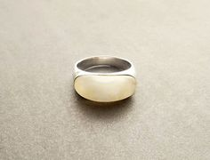 MOP Silver Ring  Modern Sterling Silver Ring set with by KRAMIKE