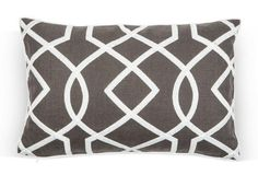 A stunning charcoal linen pillow with an embroidered fretwork motif.