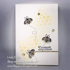 Sneak Peek at the Honey Bee stamp set and matching dies! (Linda Dalke) Sneak Peek at the Honey Bee stamp set and matching dies! Origami, Bee Cards, Stamping Up Cards, Rubber Stamping, Butterfly Cards, Scrapbooking, Sympathy Cards, Paper Cards, Greeting Cards Handmade