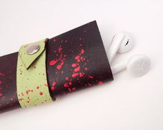 Earphone holder earphone case leather case by BloodVampireShop