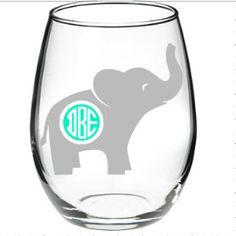 Hey, I found this really awesome Etsy listing at https://www.etsy.com/listing/262455976/elephant-elephant-wine-glass-monogram