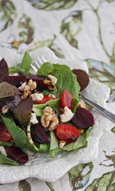 Baby Green Salad with Roasted Beets, Grilled Corn Tomatoes, Montamore Cheese and Walnuts