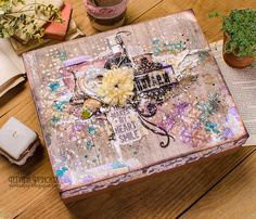 Scraps of Darkness scrapbook kits: DIY step by step video tutorial. Tanya SonataJoy created this beautiful mixed media altered box with our July Tracey's Artful Adventure kit, and did a Youtube tutorial to show you how. find our kits here: www.scrapsofdarkness.com