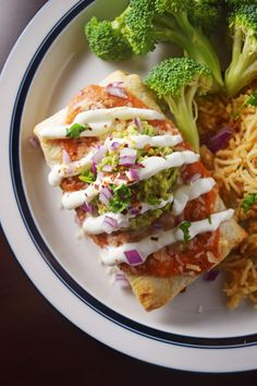 Baked Veggie Chimichangas : Flour tortillas filled with homemade refried beans, sauteed vegetables, cheese and baked to crispy perfection and served with a zingy red sauce!  EASY COMFORT FOOD that is healthy too!!