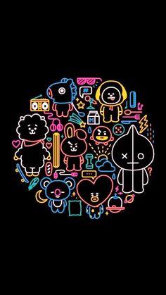 Bts Taehyung, Bts Jimin, Bts Backgrounds, Album Bts, Bts Drawings, Line Friends, Bts Chibi, Cute Cartoon Wallpapers, Bts Fans