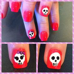 My Skull Nails for Halloween. One boy and One Girl. :))