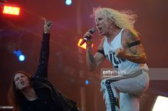 Dee Snider and Fabio Lione from Angra + Dee Snider + Doro Pesch performs at 2015 Rock in Rio on September 19, 2015 in Rio de Janeiro, Brazil.