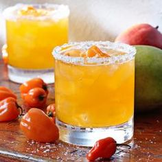Tommy Bahama's Mango Habanero Margarita (1¾ parts Milagro Silver tequila ¾ parts Curacao orange liqueur 1 part Perfect Puree mango puree 1 part scratch sour mix 2 slices fresh habanero 4 drops Bittermens Hellfire Habanero Shrub Bitters)