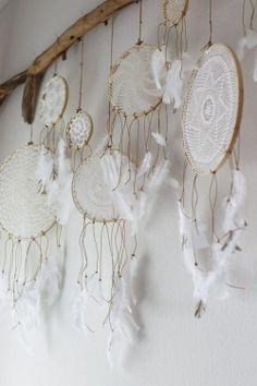 O fabulous! Now I know what to do with the loads of crocheted lace my Oma made! White lace crochet dream catcher