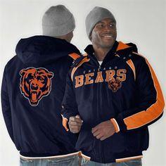Chicago Bears Slot Receiver Full Zip Jacket - Navy Blue