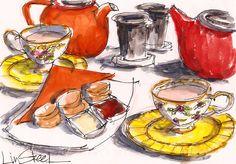 Illustration - Tea Time - this artist creates beautiful illustrations