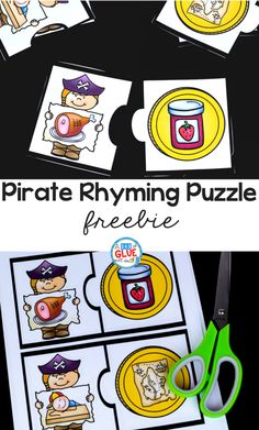 Your students in PreK, Kindergarten, or First Grade are going to LOVE this Pirate Rhyming Puzzle! Pirate Preschool, Pirate Activities, Rhyming Activities, Speech Therapy Activities, Pirate Crafts, Rhyming Kindergarten, Kindergarten Freebies, Kindergarten Language Arts, Kindergarten Classroom