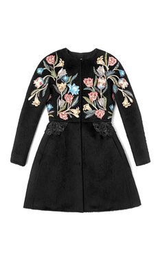 Valentino Fitted Coat With Embroidered Front