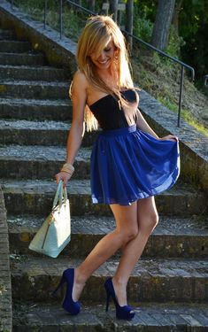 Royal blue and black! I have those heels! Just need that skirt baby!