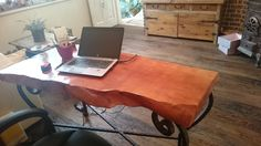 table made of solid wood, metal legs