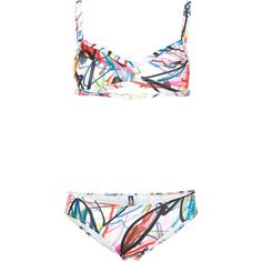 Jeremy Scott Scribble Print Bikini (115 AUD) ❤ liked on Polyvore featuring swimwear, bikinis, multicolour, bikini two piece, multi color bikini, colorful swimwear, patterned bikini and print bikinis