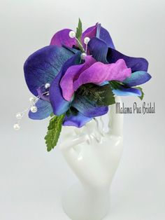Tropical Hawaiian Wedding Headpiece created with Real Touch Blue and Purple Vanda orchids, Swarovski crystals and pearls on silver comb. Bridal Hair Flowers, Silk Flowers, Blue And Purple Orchids, Fascinator, Headpiece, Vanda Orchids, Flowers For You, Bridal Hair Accessories, Hair Comb