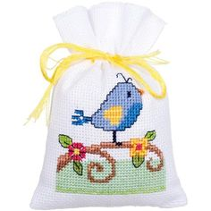 "Bird And Bird Houses Bags On Aida Counted Cross Stitch Kit-3.25""X4.75"" 18 Count Set Of 3"