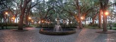 A rainy day in Savannah's Johnson Square.