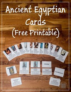 Free, Printable Ancient Egyptian Historical Figure Cards - Fun, hands-on, Montessori-inspired cards can be used for independent study or to play a multiplayer game - Features Egyptians Narmer, Imhotep, Khufu, Ahmose I, Amenemhat III, Thutmose I, Hatshepsut, Queen Tiye, Akhenaton, Nefertiti, Tutankhamen, Ramesses III