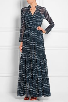 Saloni | Alexia Swiss-dot chiffon maxi dress | NET-A-PORTER.COM