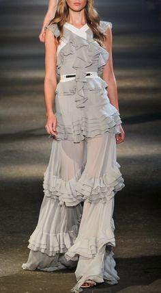 tiered grey gown / PRABAL GURUNG  Spring 2013