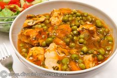 peas with chicken Ricotta, Bacon, Curry, Chicken, Dinner, Cooking, Ethnic Recipes, Food, Pregnancy