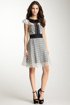 81c139f95a4 Sheer White and Black Polka Dot Short-Sleeved Dress with Black Details and  Underlay