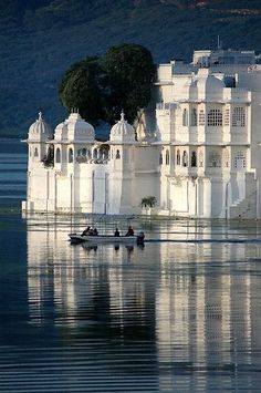 ferry to the Lake Palace Hotel, Udaipur, India | Vindemiatrix via Flickr.  If you are a Bond fan you might recognize this place.