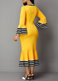 Back Zipper Flare Cuff Stripe Print Mermaid Dress African Fashion Ankara, Latest African Fashion Dresses, African Dresses For Women, Xhosa Attire, Michelle Obama Fashion, Shweshwe Dresses, Club Party Dresses, Bodycon Dress With Sleeves, Necklines For Dresses