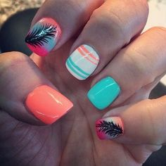 pretty feather nail art designs and tutorials - noted list Neon Nails, Love Nails, Pink Nails, My Nails, Neon Nail Designs, Acrylic Nail Designs, Acrylic Nails, Acrylics, Feather Nail Art