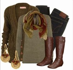 Fall Outfit With Cardigan and Scarf and Long Boots. Love this outfit....