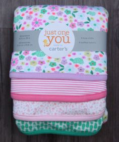 Carter's Just One You Baby Girl Set of 4 Burp Cloths ~Flowers & Turtles ~Stripes #Carters #BabyGirl #Flowers #Turtles #Pineapples #JustOneYou
