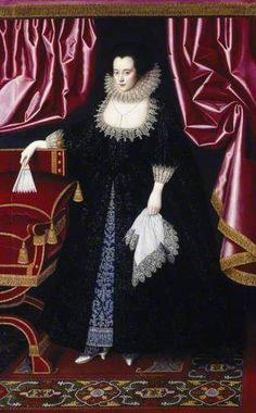 1615 Portrait of Lady Anne Sackville, Lady Beauchamp or Frances Prynne or Prinne, Lady Seymour of Trowbridge attributed to William Larkin, at Petworth House (inv. Historical Costume, Historical Clothing, Female Clothing, Antique Clothing, Adele, 17th Century Fashion, 16th Century, Isabel I, Seymour