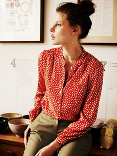 Patterned blouse. This one looks like it doesn't need ironed. Cotton that needs ironed is a no-go.