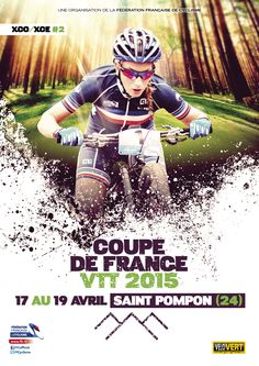 Affiche Coupe de France VTT 2015 Event Flyers, Comic Books, Comics, Cover, Mtb Bike, Cycling, Event Posters, Cartoons, Cartoons