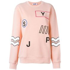 Steve J & Yoni P Embroidered Details Sweatshirt ($317) ❤ liked on Polyvore featuring tops, hoodies, sweatshirts, embroidered top, cotton sweatshirt, pink sweatshirts, embroidery top and pink top