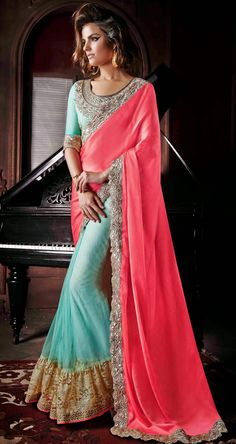 USD 74.56 Pink Georgette Half and Half Wedding Saree 47411