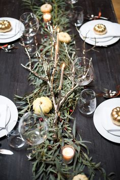 Thanksgiving and Hanukkah Inspiration Shoot from Rachel Gomez Photography - Style Me Pretty Winter Wedding Receptions, Winter Weddings, Green Garland, Winter Wedding Inspiration, Wedding Ideas, Wedding Themes, Table Design, Deco Table, Christmas Wedding