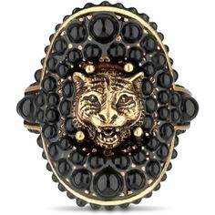 Gucci Feline Ring With Black Resin Beads ($495) ❤ liked on Polyvore featuring men's fashion, men's jewelry, men's rings, rings, jewelry, gucci, accessories and gucci mens ring