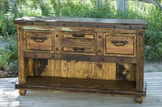 Rustic buffet table, would like to find something like this for master bath sink