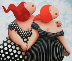 Waiting for our dateby Susan Ruiter Cute Illustration, Graphic Design Illustration, Caricature, Art Shed, Plus Size Art, Fat Art, Angel Crafts, Chubby Ladies, Fat Women