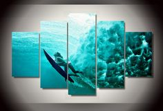 (Unframed)5 Pcs Printed surfing underwater Group Painting wall art children's room decor print poster picture canvas Art Picture living room * AliExpress Affiliate's Pin. Click the VISIT button to view the details