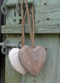chunky wooden hearts