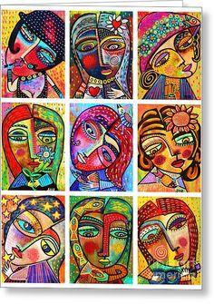 0 Folk Art Ladies Greeting Card by Sandra Silberzweig